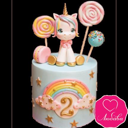 Торт детский с единорогом №2292