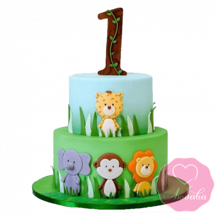 Торт детский со зверями №2298