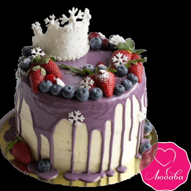 Торт детский с ягодами и короной №2303