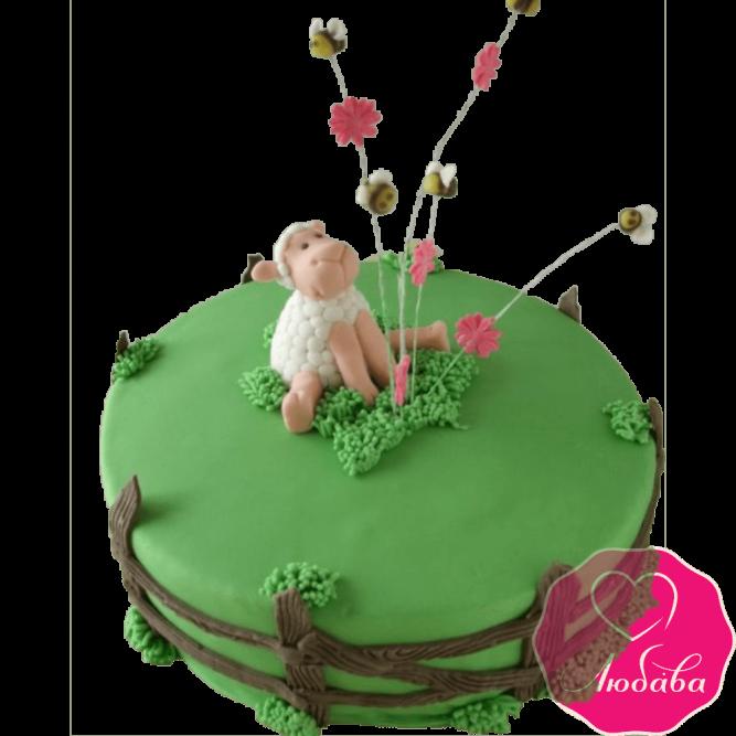 Торт детский овечка на поляне №2308