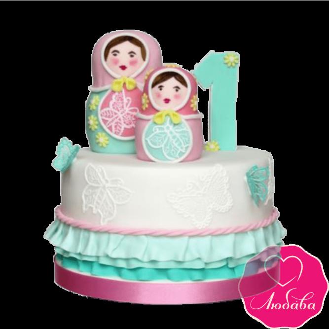 Торт детский с матрешками №2380