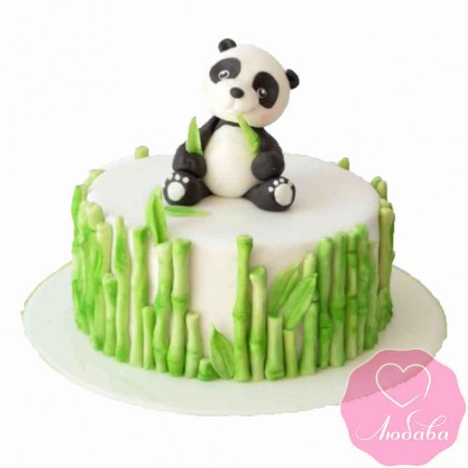 Торт детский панда с бамбуком №2391