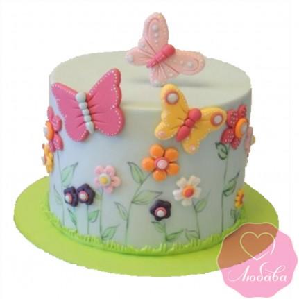 Торт детский с бабочками №2410