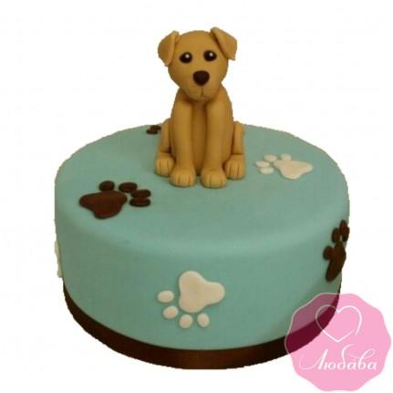 Торт детский с собакой и лапками №2496