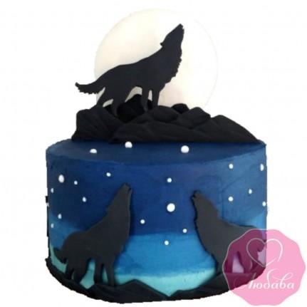 Торт детский с волками №2535