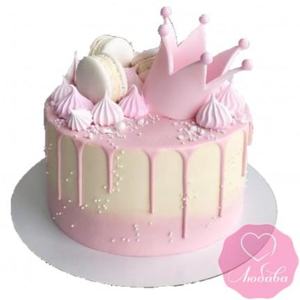 Торт детский с короной и сладостями №2559