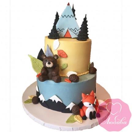Торт детский с лисой и медведем №2563