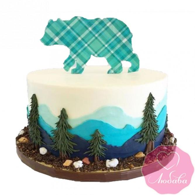 Торт детский медведь и горы №2564