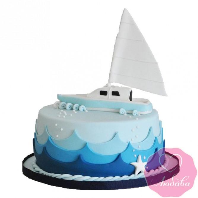 Торт детский с корабликом №2585