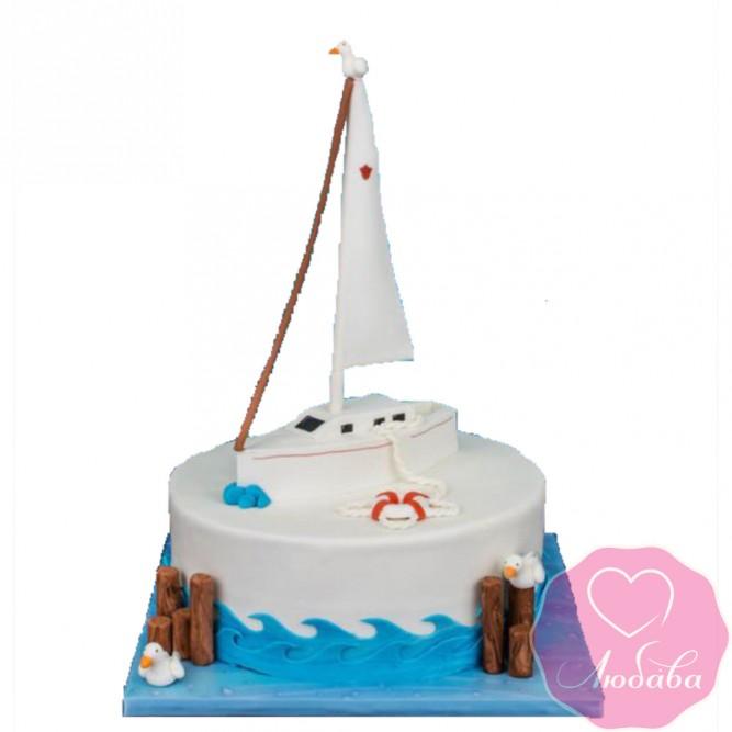 Торт детский парусник №2586