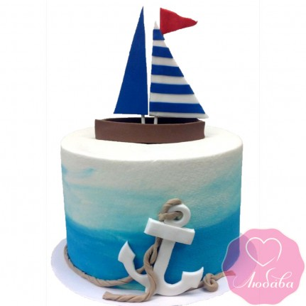 Торт детский лодка с парусами №2587