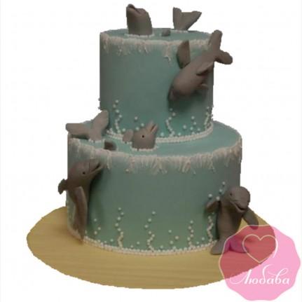 Торт детский с дельфинами №2596