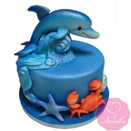 Торт детский с дельфином №2597