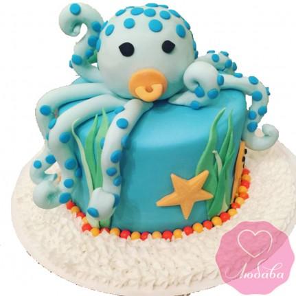 Торт детский с осьминожкой №2607