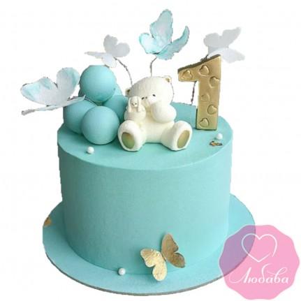 Торт детский на годик с мишкой №2611