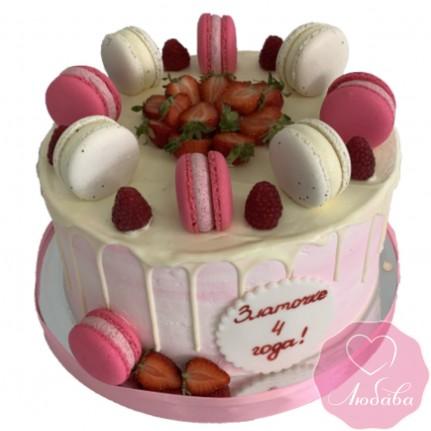 Торт детский с макарунами и ягодами №2621