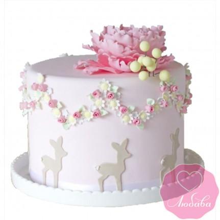 Торт детский розовый №2636