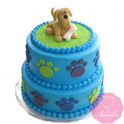 Торт детский двухъярусный с собакой №2647