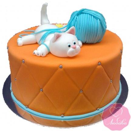 Торт детский кот с клубком №2648