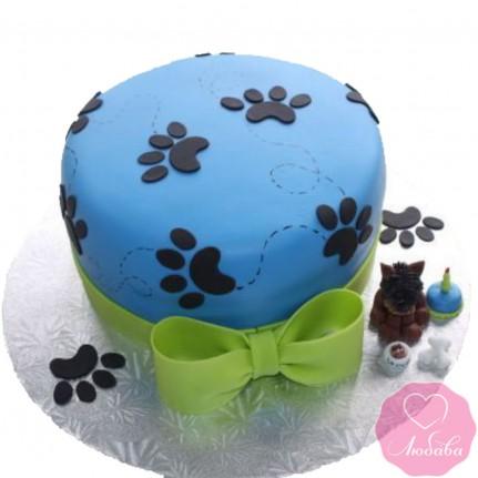 Торт детский с лапками и собакой №2649