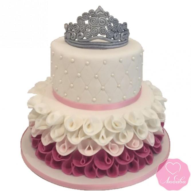 Торт детский двухъярусный с короной №2656
