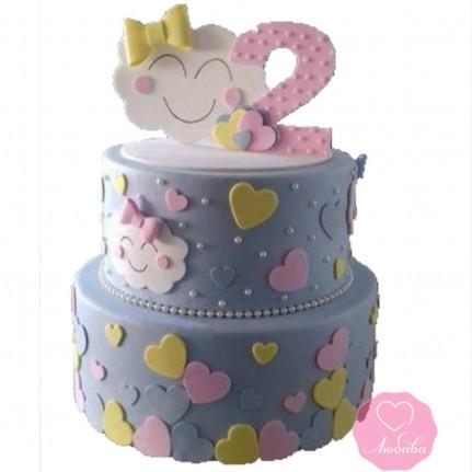 Торт детский с облаками №2665