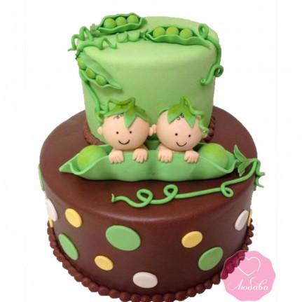 Торт детский близнецам №2707
