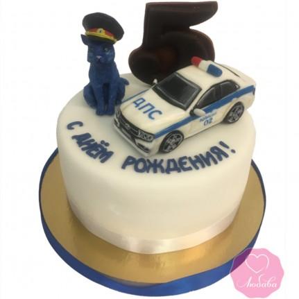 Торт детский с котом и машиной №2713