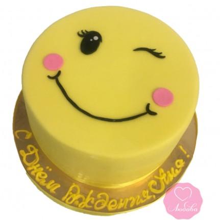 Торт детский смайлик подмигивающий №2732