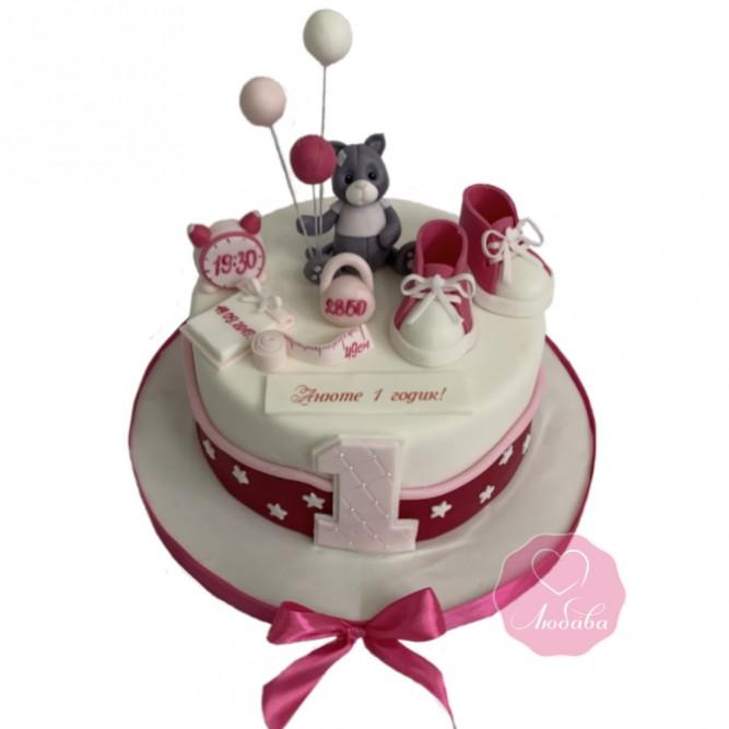 Торт девочке на 1 годик №2870