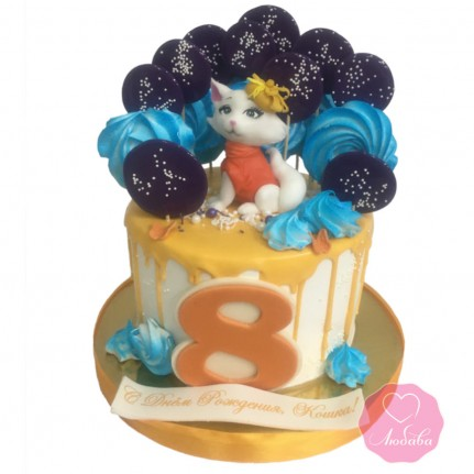 Торт для девочки с котиком №2875