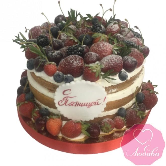 Торт без мастики ягодный  с надписью №2453