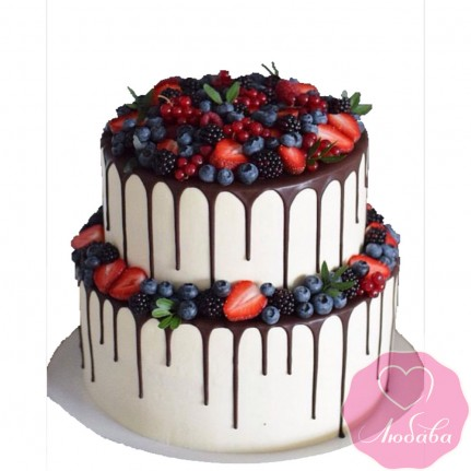 Торт без мастики двухъярусный с ягодами №2506
