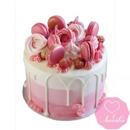 Торт без мастики розовый №2512