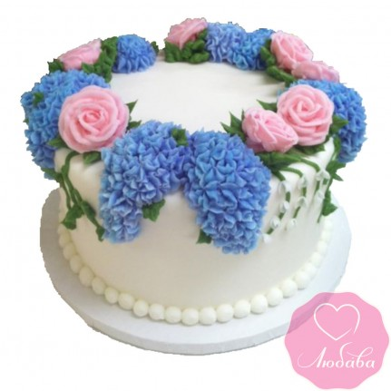 Торт без мастики с цветами сирени №2522