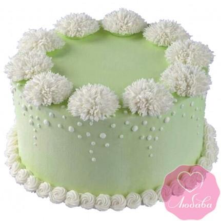 Торт без мастики салатовый с цветами №2523