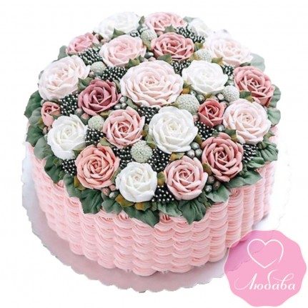 Торт без мастики корзина с розами №2524