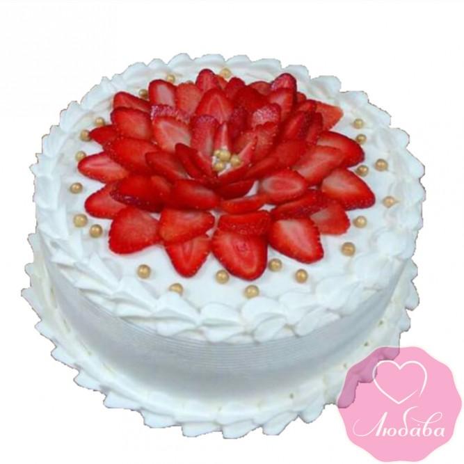 Торт постный с клубникой №2579