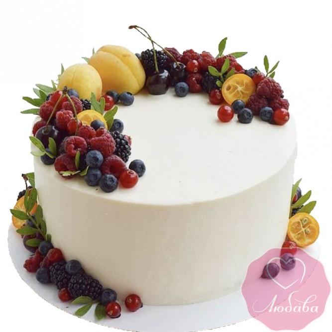 Торт постный с ягодами и фруктами №2593