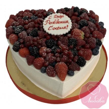 Торт без мастики сердце №2628