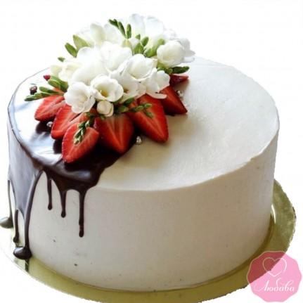 Торт постный с ягодами и цветами №2703