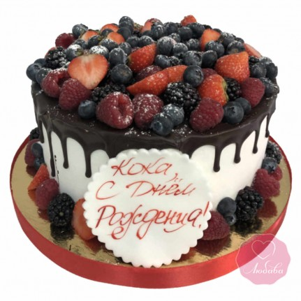 Торт постный с ягодами и шоколадом №2718