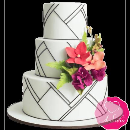 Торт свадебный трехъярусный №2130