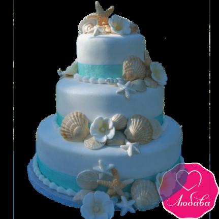 Торт свадебный с ракушками №2132