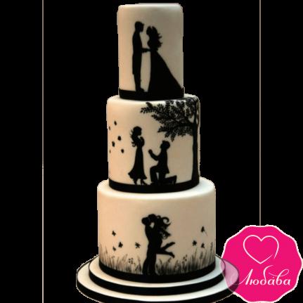 Торт свадебный история любви №2134