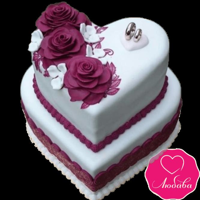 Торт свадебный сердце №2140