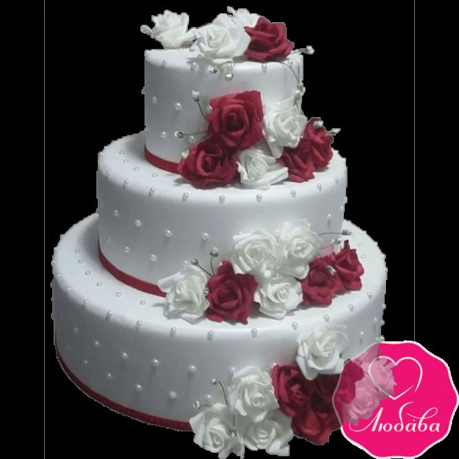 Торт свадебный с розами №2141