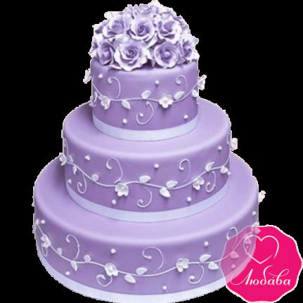 Торт свадебный сиреневый с розами №2142