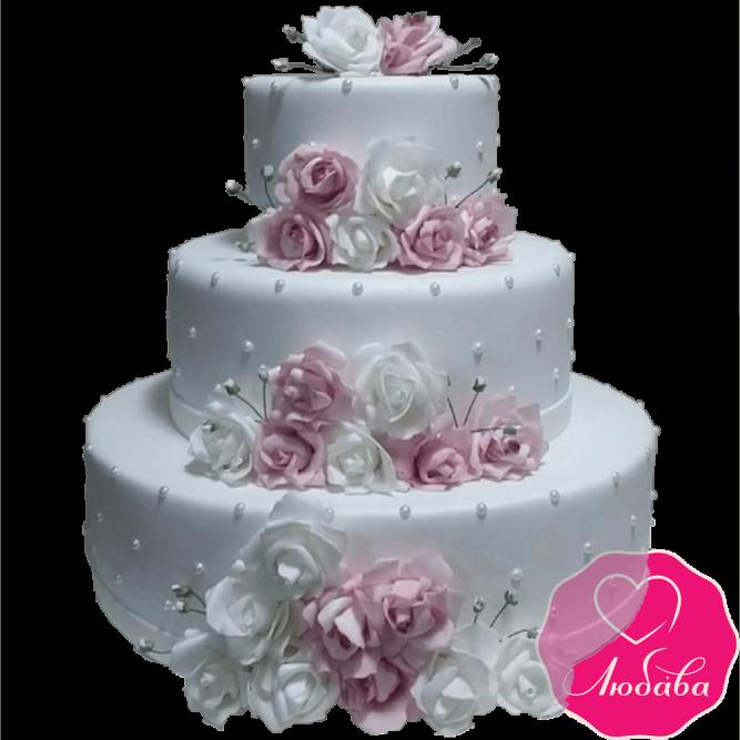 Торт свадебный с розами №2143