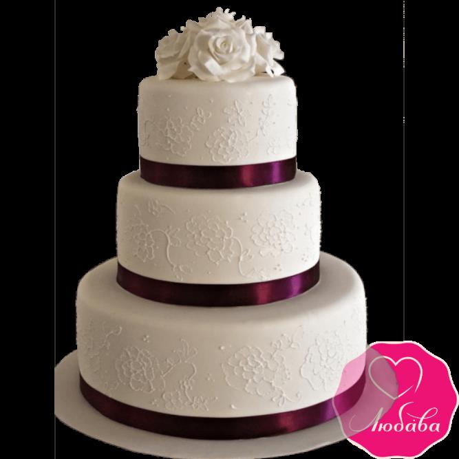Торт свадебный с белыми розами №2151
